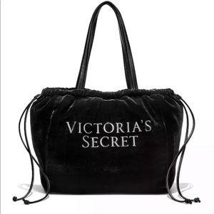 Victoria's Secret Black Velvet Tote Bag Handbag